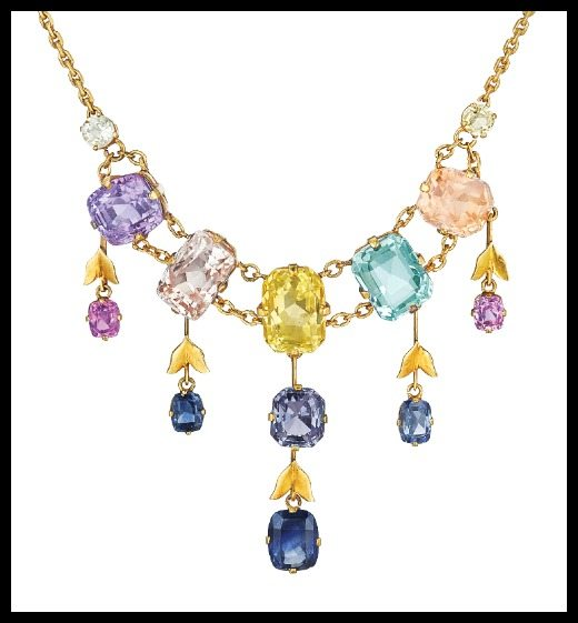 Pretty gold and gemstone necklace with sapphires, aquamarine, and spinel - full and detail views