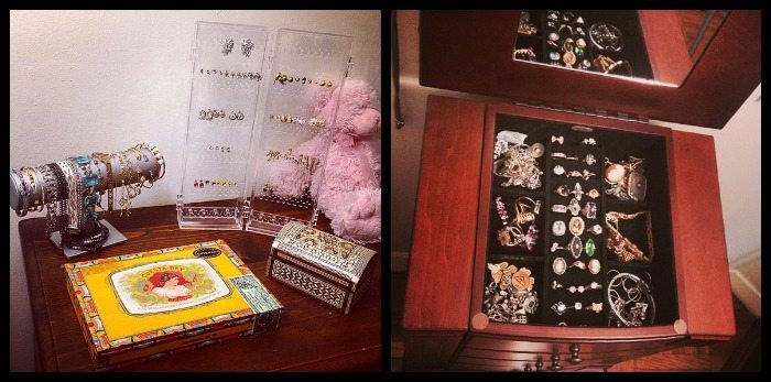 Some of Becky's jewelry storage solutions.