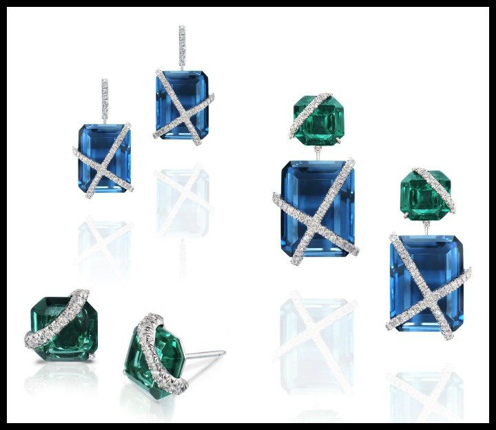 The Leigh earrings by Rachael Sarc – these earrings can be worn in three different ways to suit your mood. 18k white gold with green quartz, London blue topaz, and diamond pavè