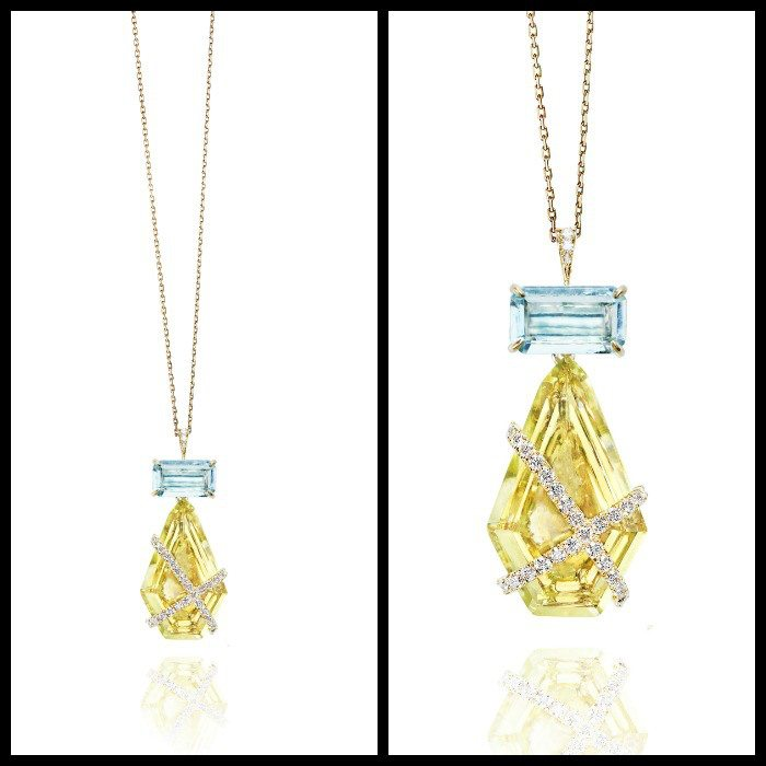The Rachael Sarc Denise II pendant in quartz and aquamarine with diamond accents.