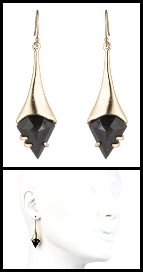 Alexis Bittar Black Shield Drop Earrings