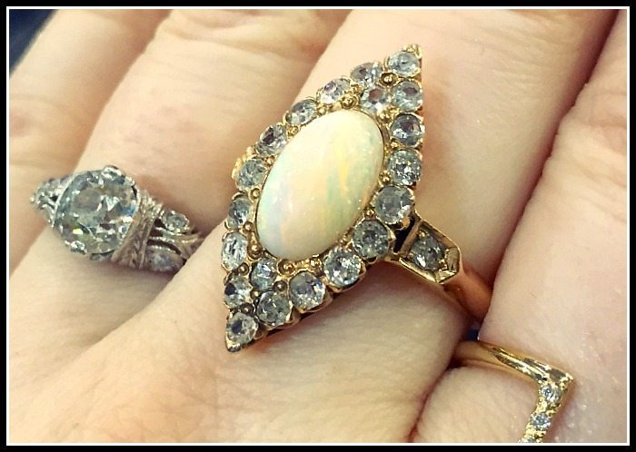 Glorious antique diamond and opal ring.