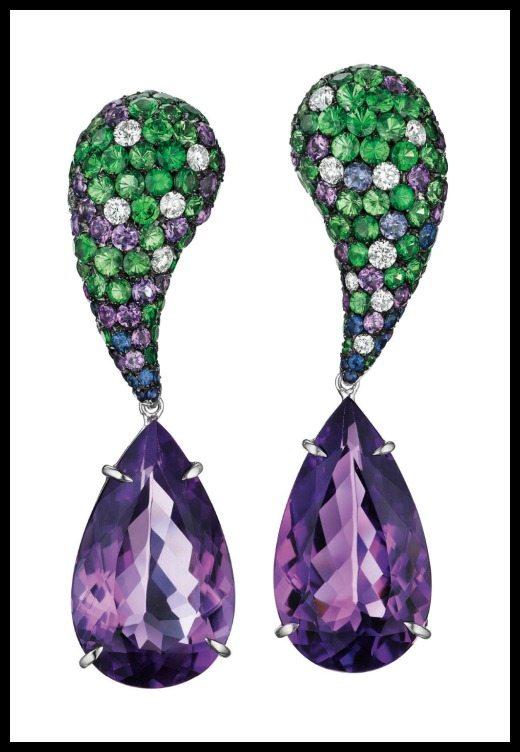 Spectacular 25.36 carat amethyst earrings with tsavorite garnets, diamonds, sapphires, and more amethysts. By Margherita Burgener.