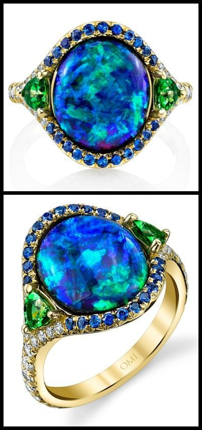 The award-winning Lighting Ridge black opal ring by Omi Privé, with diamonds, sapphires, and tsavorite garnet; top and side view