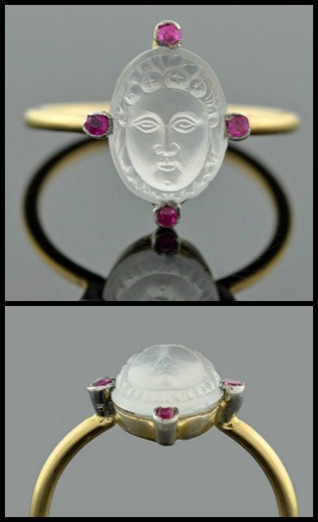 Art Nouveau ruby and carved moonstone cameo ring