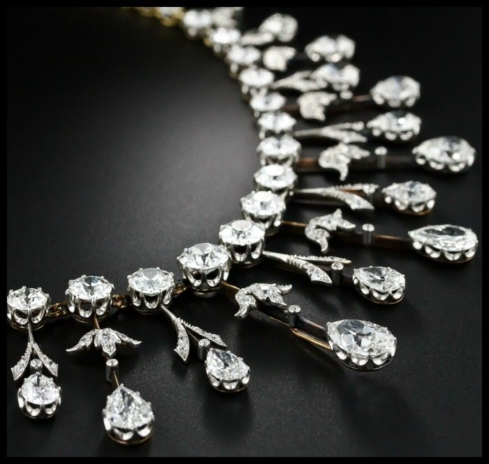 Detail view of a fabulous 35 carat antique Edwardian diamond fringe necklace at Lang Antiques
