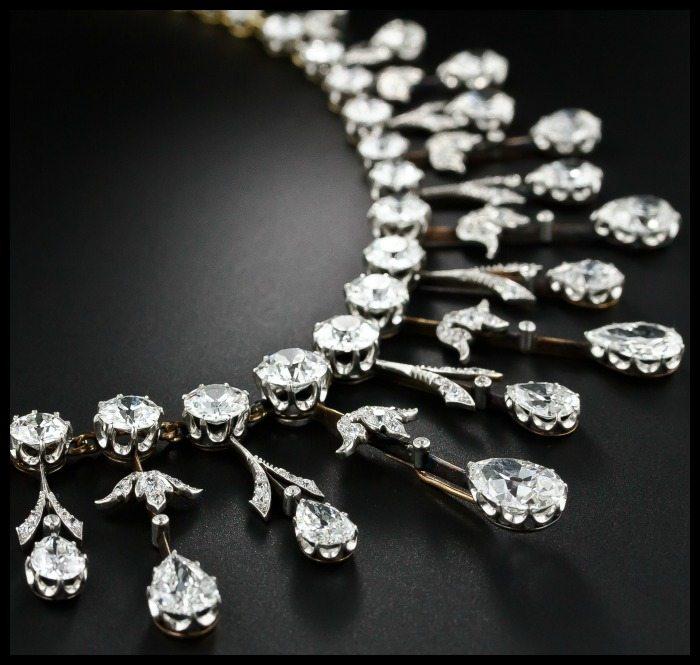 Detail view of a fabulous 35 carat antique Edwardian diamond fringe necklace at Lang Antiques