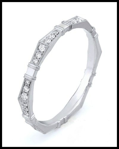 Erika Winters' Imogen wedding band from the Fidelia collection. With diamonds and millegrain accents.