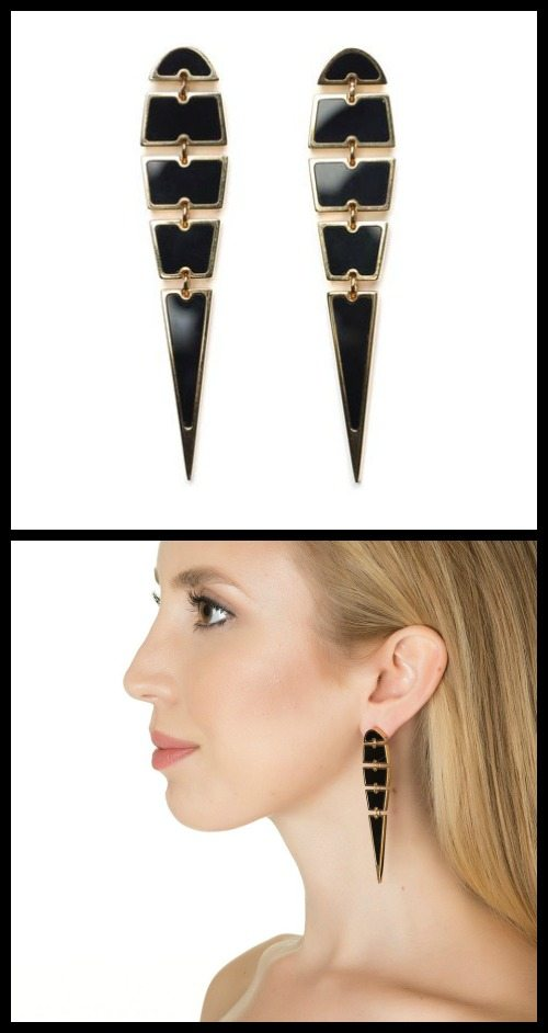 Lizzie Fortunato Jewels Unhinged earrings in black and gold.