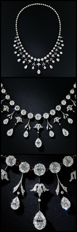 Multi view of a glorious 35 carat antique Edwardian diamond necklace at Lang Antiques. Circa 1900.