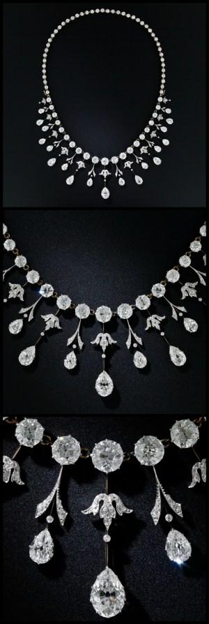 Multi view of a glorious 35 carat antique Edwardian diamond necklace at Lang Antiques. Circa 1900.