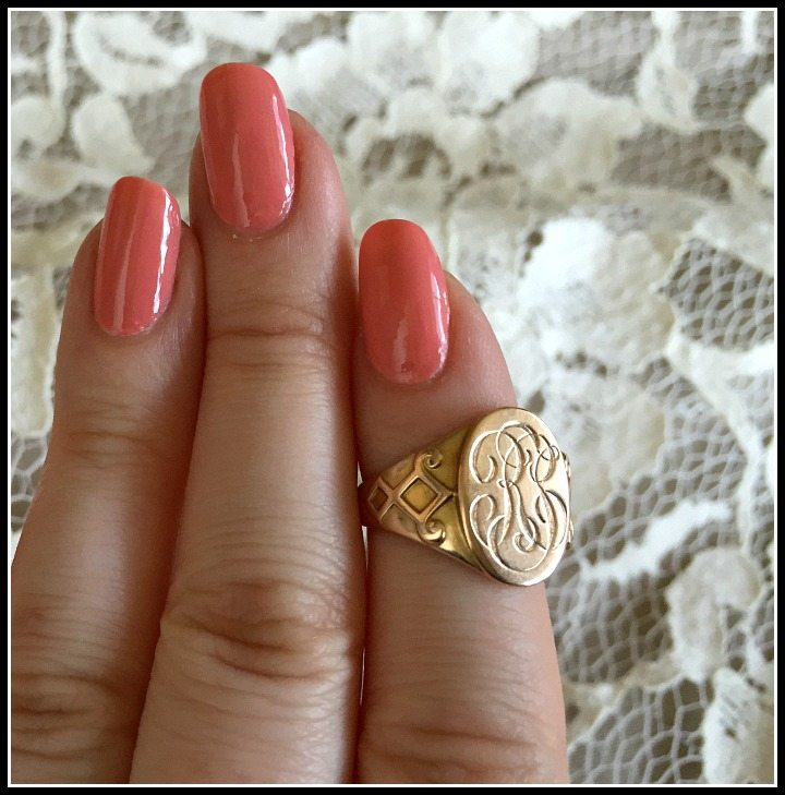 My Antique Ostby Barton signet ring from Circa 1700, with my soon-to-be initials