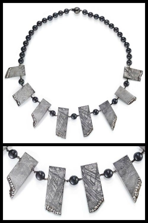 Rachael Sarc meteorite necklace with diamond accents and Andamooka opal beads; full view and detail shot.