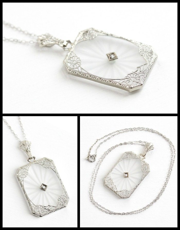 Antique Art Deco rock crystal, diamond, and white gold filigree necklace.