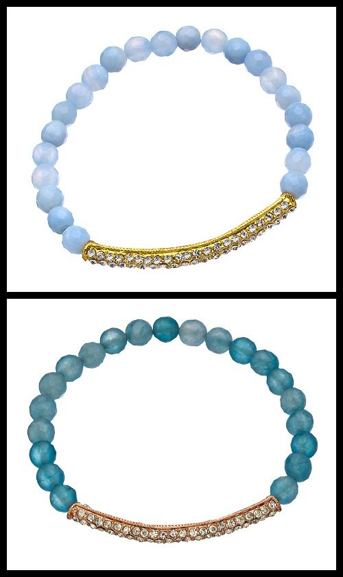 Devoted crystal bar bracelet in aquamarine and blue lace agate.