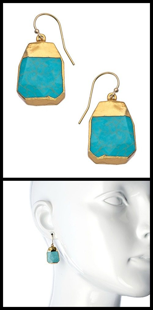 Janna Conner gold and turquoise nugget drop earrings