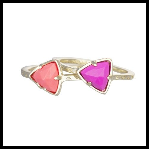 Kendra Scott Ann stackable rings in pink hibiscus