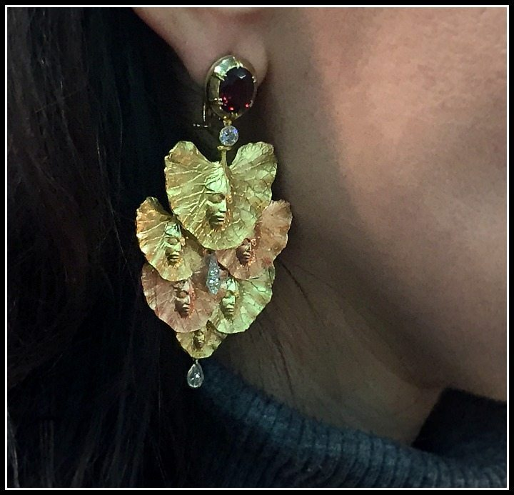 Nichole of Jewelry Nerd modeling Anthony Lent's bespoke Shoko earrings - yellow gold, rose gold, platinum, rhodolite garnet, and diamonds.