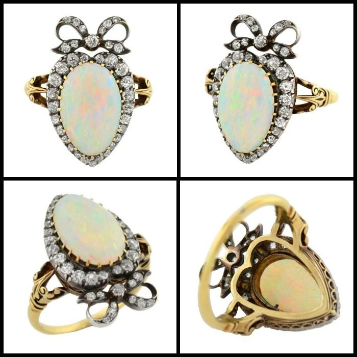 Victorian opal and diamond ring in 18k silver-topped-gold heart setting with a diamond-set bow; four views