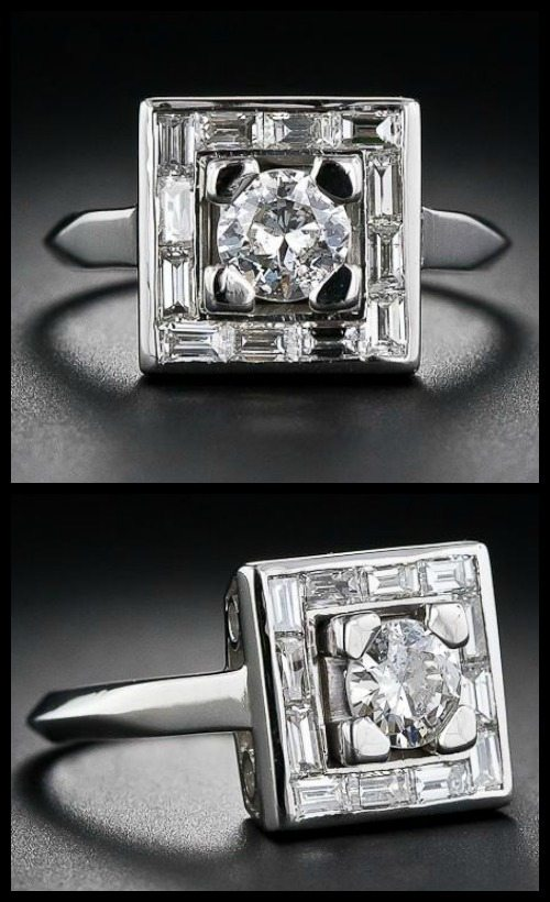 Antique Art Deco diamond ring with a fabulous geometric design.