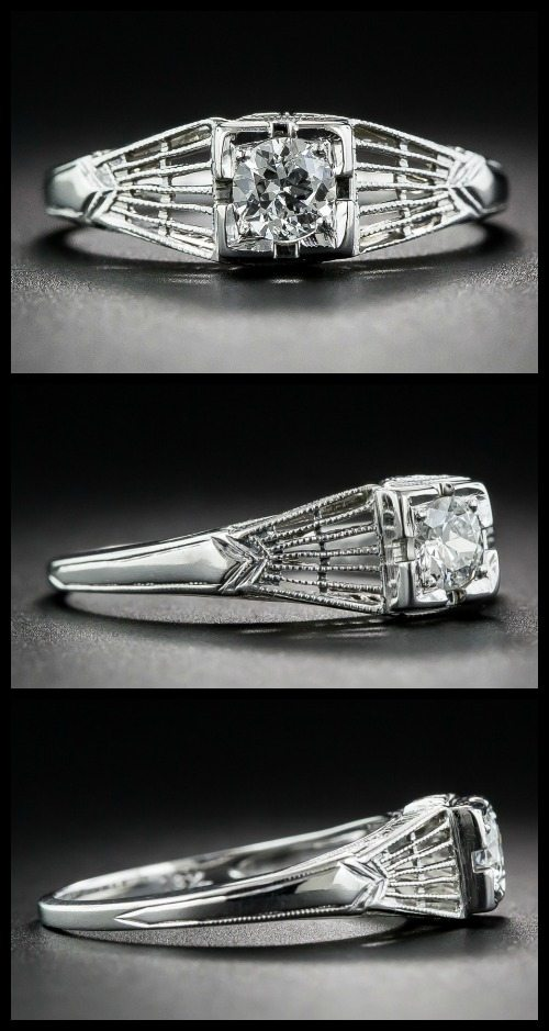Antique Art Deco engagement ring from the 1920s-1930s, in white gold with a .22 carat old European cut diamond and geometric openwork details.