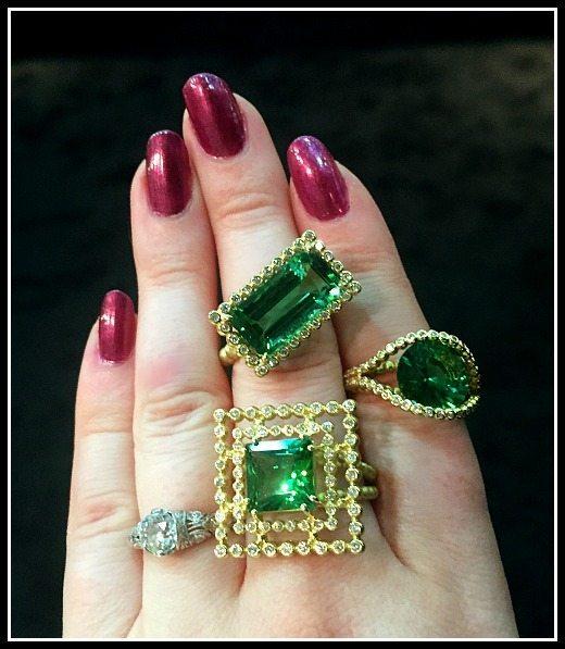 Fabulous Suzy Landa tourmaline rings in gold.
