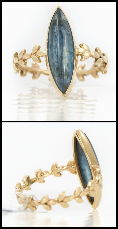 Kyanite marquise vine ring in yellow gold, by Melanie Casey
