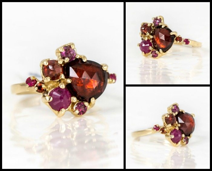 Ruby and garnet cluster ring in gold by Melanie Casey.