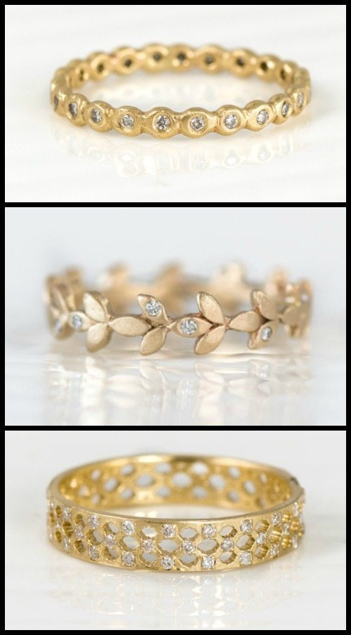 Yellow gold and diamond wedding bands by Melanie Casey