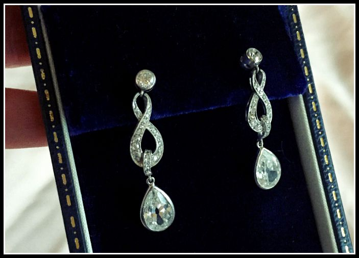 My antique wedding jewelry - Edwardian diamond earrings from Lang Antiques, circa 1915.