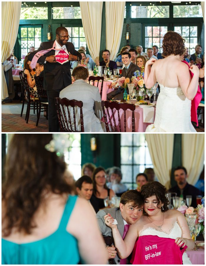 The best man and maid of honor speeches at my wedding. Photography by Angel Kidwell.