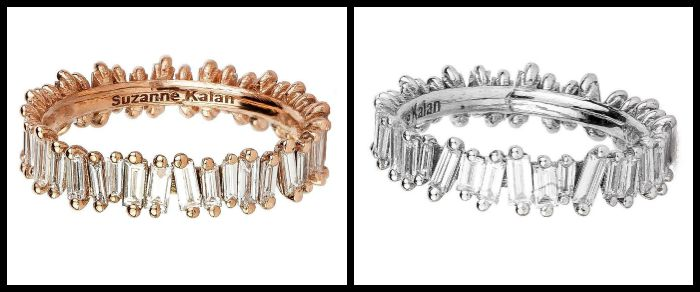 Two baguette eternity bands from Suzanne Kalan's Devoted Collection. The top ring is rose gold and the other is white gold.