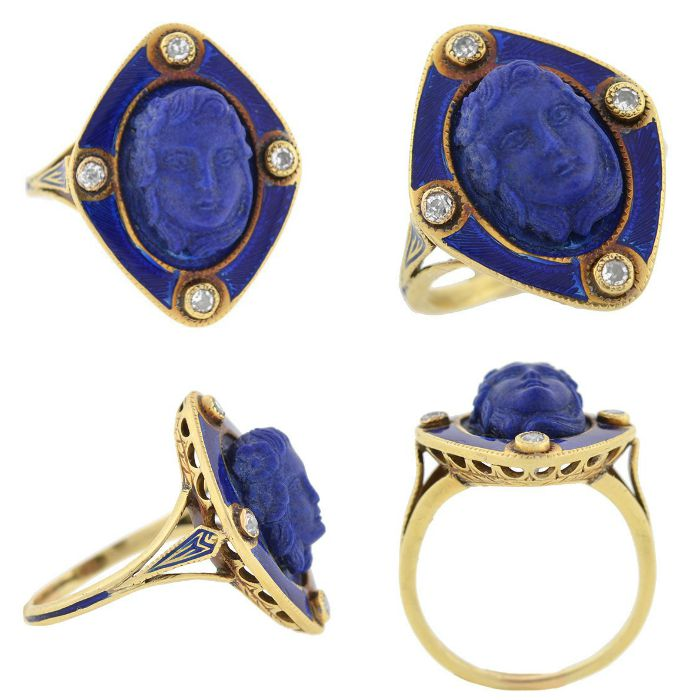 A Victorian carved lapis ring with old mine cut diamonds and blue enamel, circa 1800. From A Brandt and Son. All views