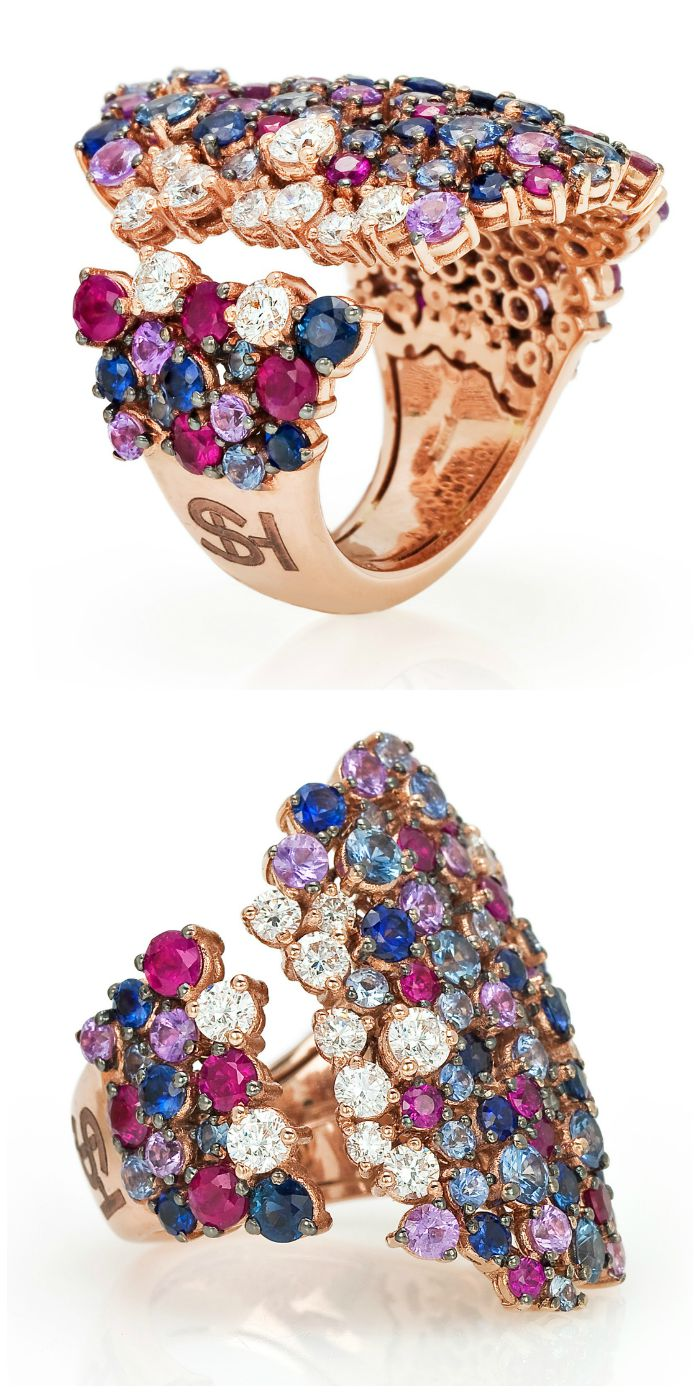 A beautiful cocktail ring from the Stefan Hafner Pegaso collection. Diamonds and brightly colored gemstones in rose gold.