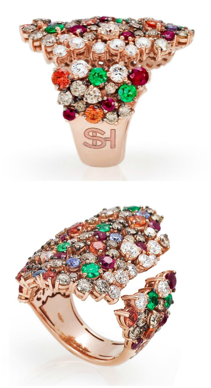 A fantastic cocktail ring from the Stefan Hafner Pegaso collection. Diamonds and brightly colored gemstones in rose gold.