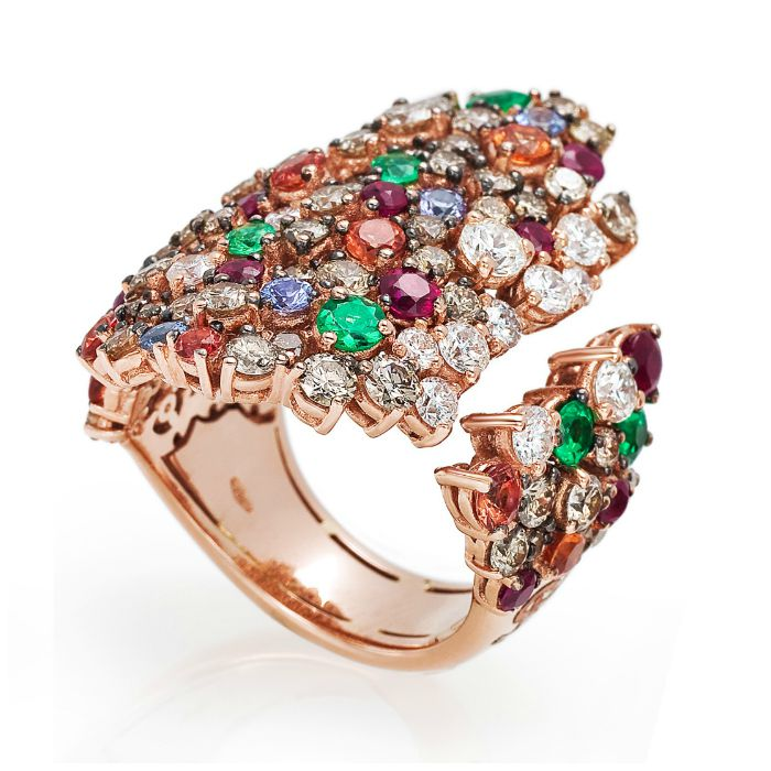 A fantastic cocktail ring from the Stefan Hafner Pegaso collection. Diamonds and colorful gemstones in rose gold.