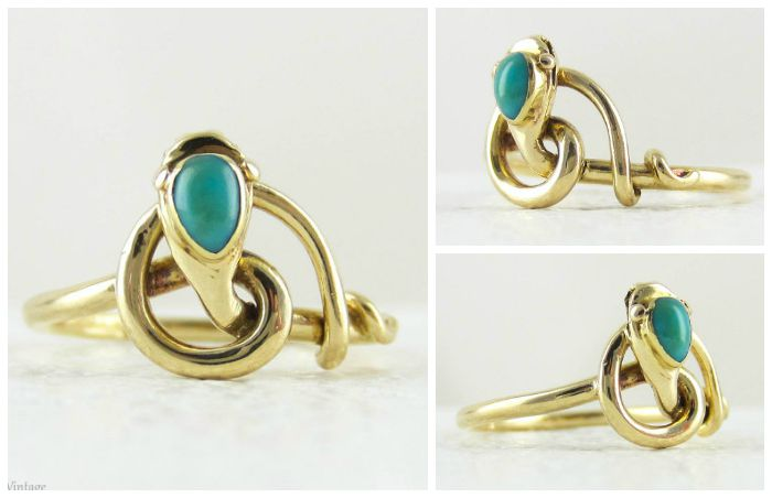 An antique snake ring in yellow gold with a turquoise-set head, circa 1910. From Addy's Vintage.
