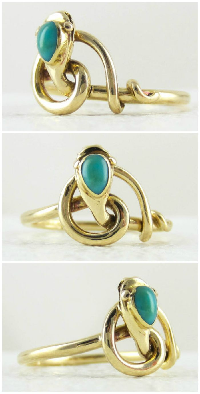 An antique snake ring in yellow gold with a turquoise-set head; circa 1910. From Addy's Vintage.