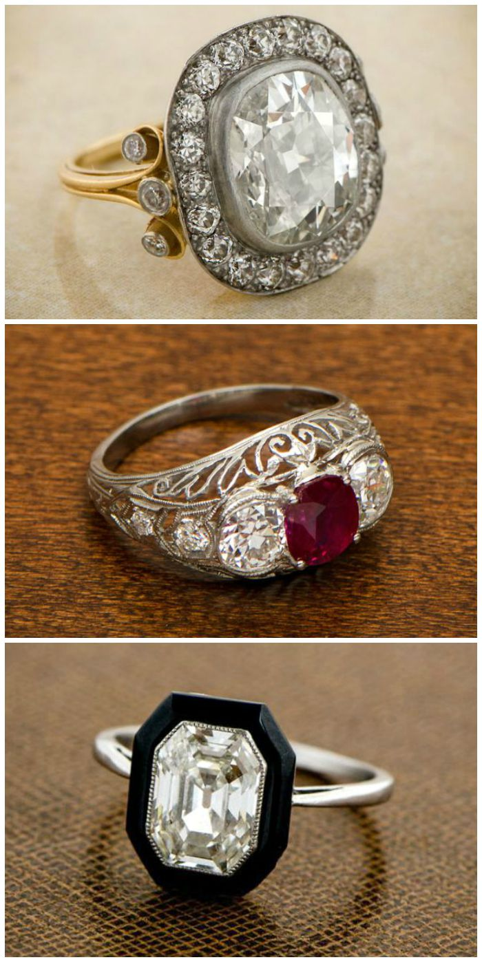 Antique engagement rings from Estate Diamond Jewelry.