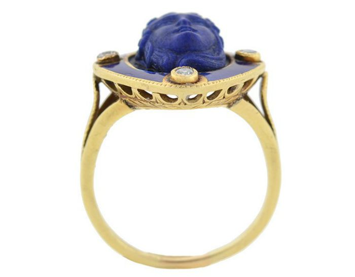 Gallery view of an antique Victorian carved lapis ring with diamonds and blue enamel, circa 1800. From A Brandt and Son.