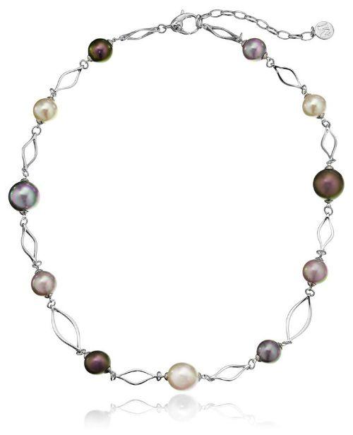 Majorica multi-colored pearl necklace in sterling silver.