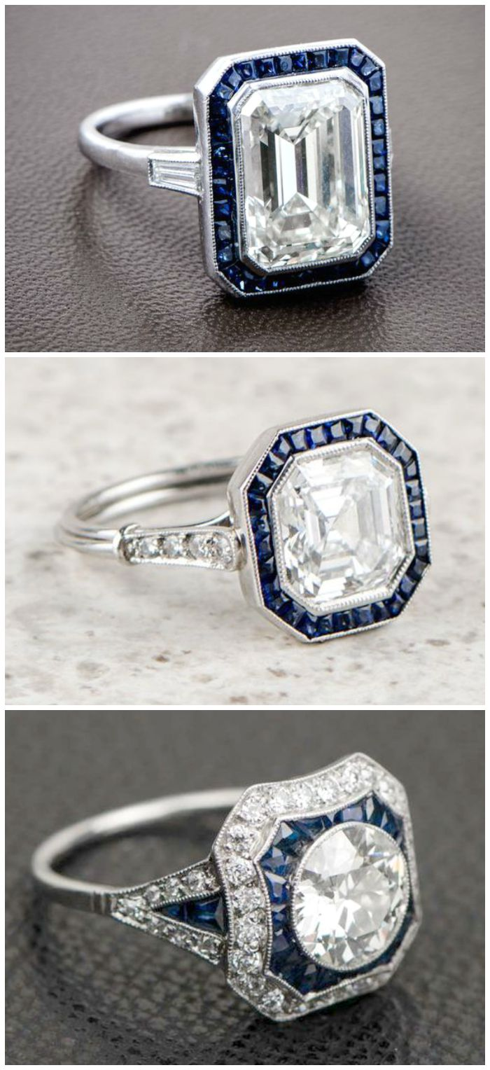 Sapphire and diamond engagement rings from Estate Diamond Jewelry