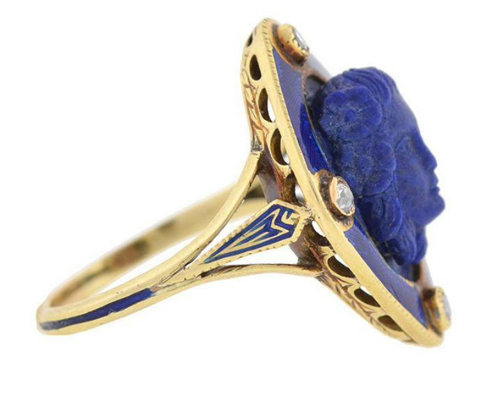 Side view of a Victorian carved lapis ring with diamonds and blue enamel, circa 1800. From A Brandt and Son. Look at that shoulder detail!