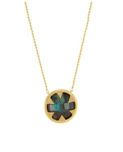 The Tessa Necklace by Melinda Maria, with labrodorite in gold.
