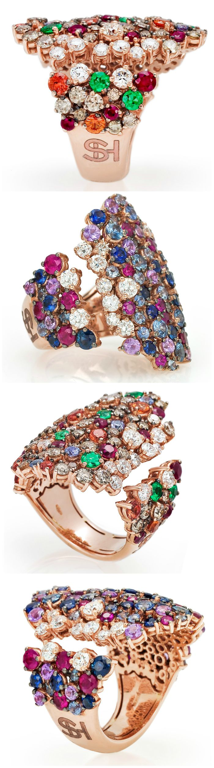 The beautiful cocktail rings from the Stefan Hafner Pegaso collection. Diamonds and gemstones set in rose gold.