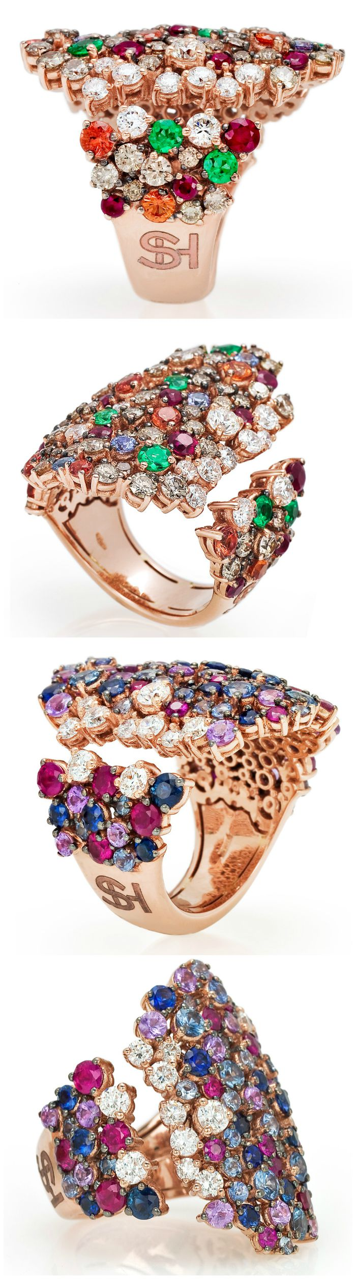 The fabulous cocktail rings from the Stefan Hafner Pegaso collection. Diamonds and gemstones set in rose gold.