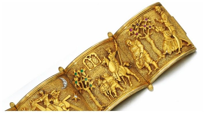 A fabulous bracelet from the 1950's that shows the scenes from the story of Don Quixote. Detail view of back half.