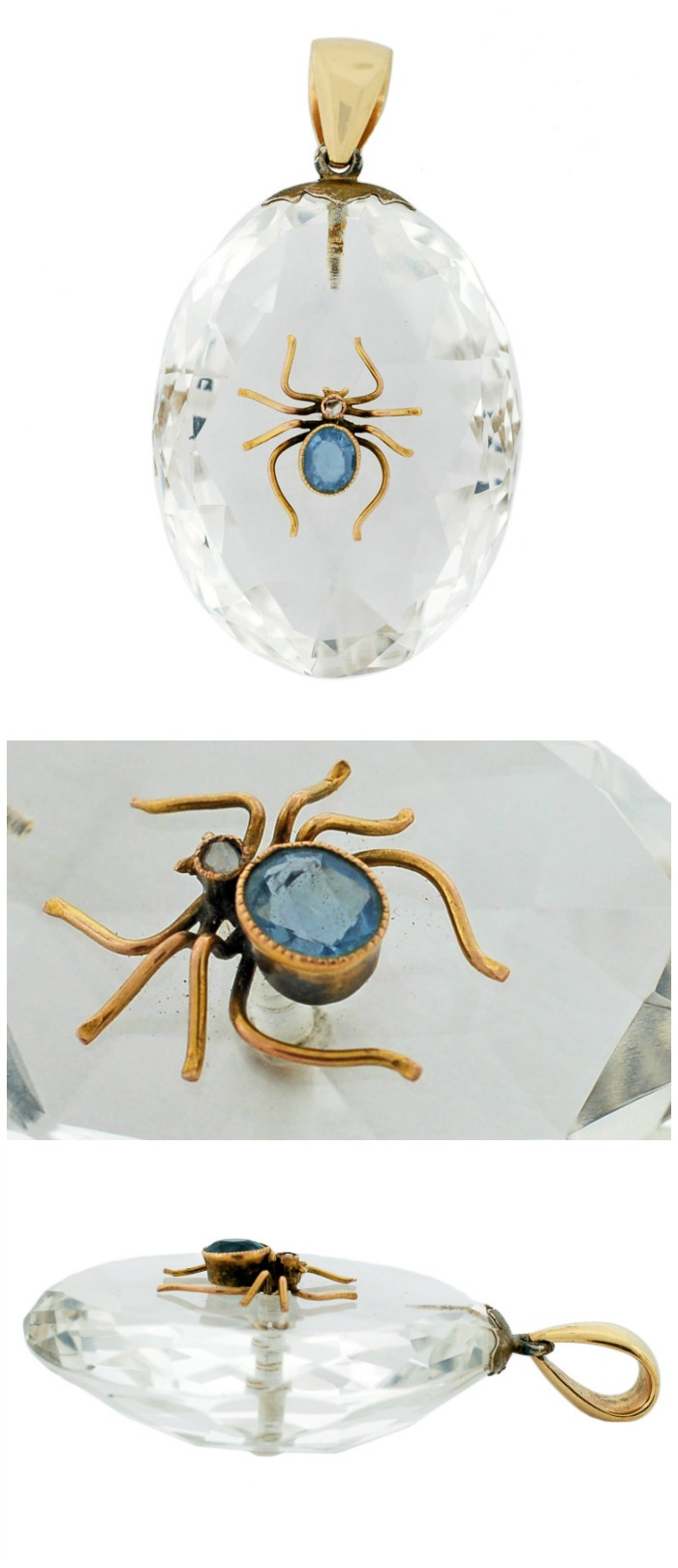An antique Victorian 14k gold, rock crystal, sapphire, and diamond spider pendant.