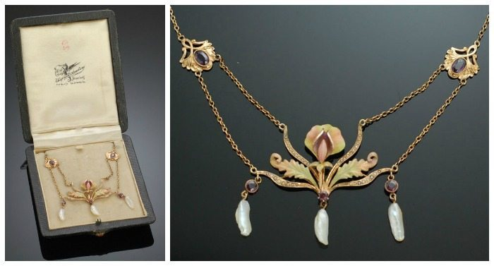 Antique Art Nouveau gold and enamel necklace with pearls; also shown in antique box.