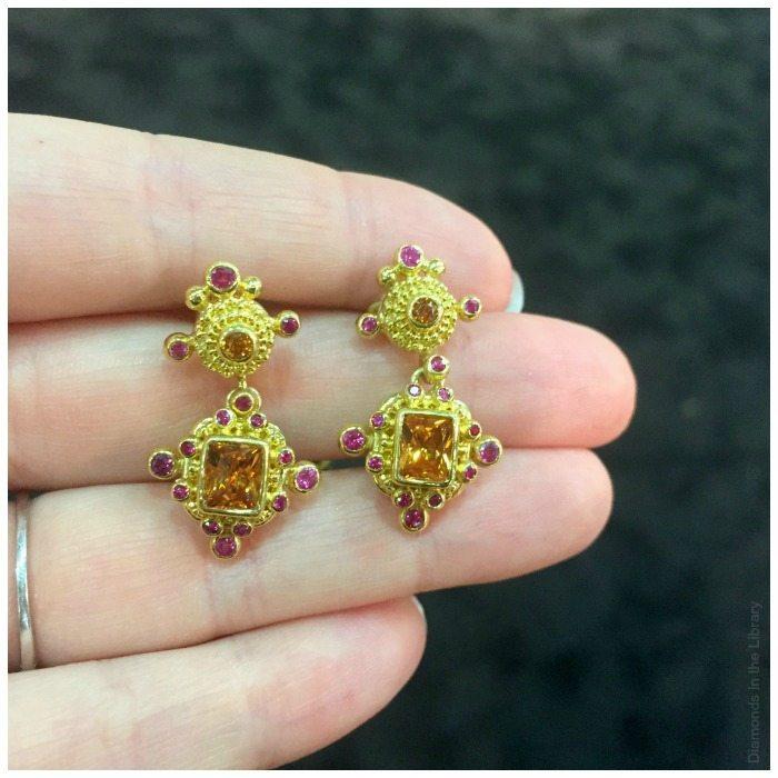 Beautiful granulated gold and gemstone earrings from Zaffiro jewelry.